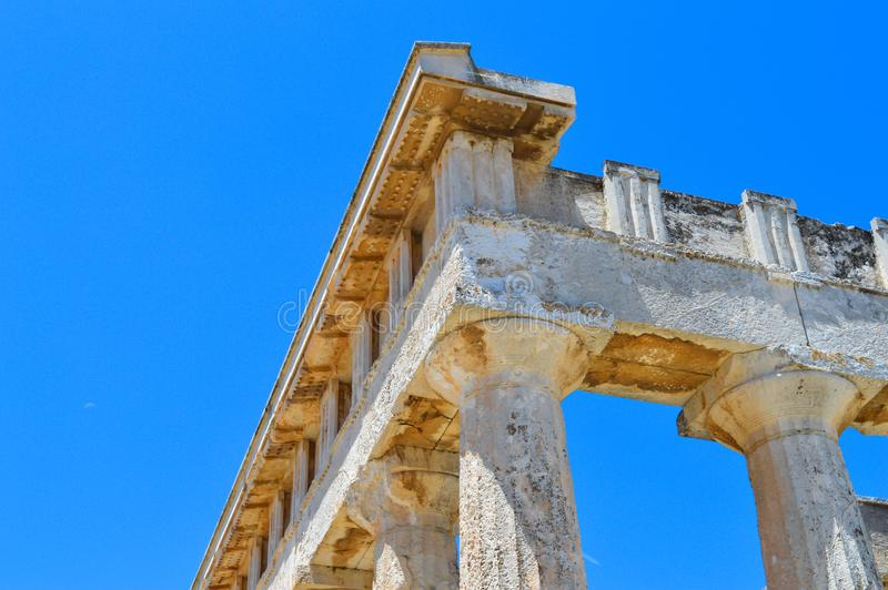 The Temple of Aphaia in Aegina, Greece on June 19, 2017. AEGINA, GREECE - JUNE 19: The Temple of Aphaia in Aegina, Greece on June 19, 2017 royalty free stock photos