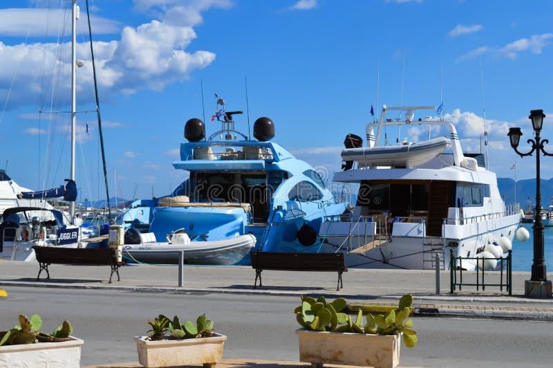 Aegina port in Aegina island, Greece on June 19, 2017. AEGINA, GREECE - JUNE 19: Aegina port in Aegina island, Greece on June 19, 2017 stock photos