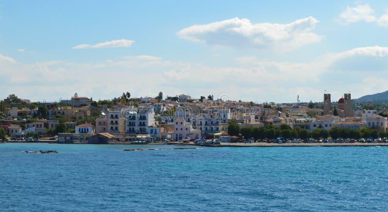 Aegina port in Aegina island, Greece on June 19, 2017. AEGINA, GREECE - JUNE 19: Aegina port in Aegina island, Greece on June 19, 2017 stock images