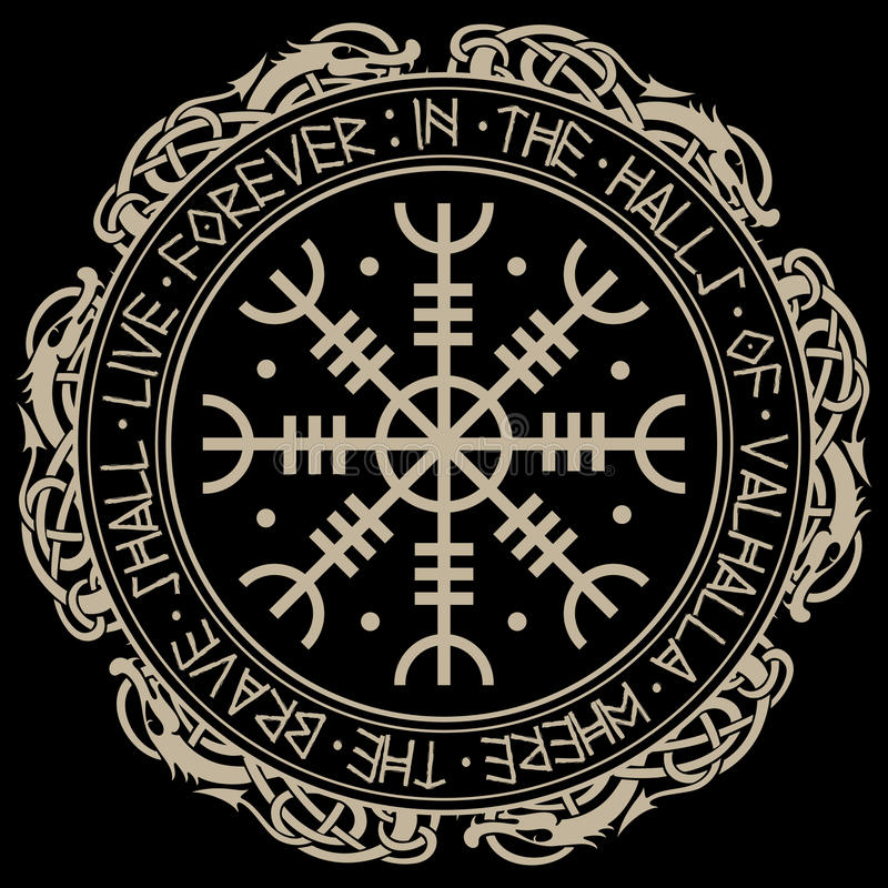 Free Aegishjalmur, Helm Of Awe Helm Of Terror , Icelandic Magical Staves With Scandinavian Runes And Dragons Stock Photos - 93015993