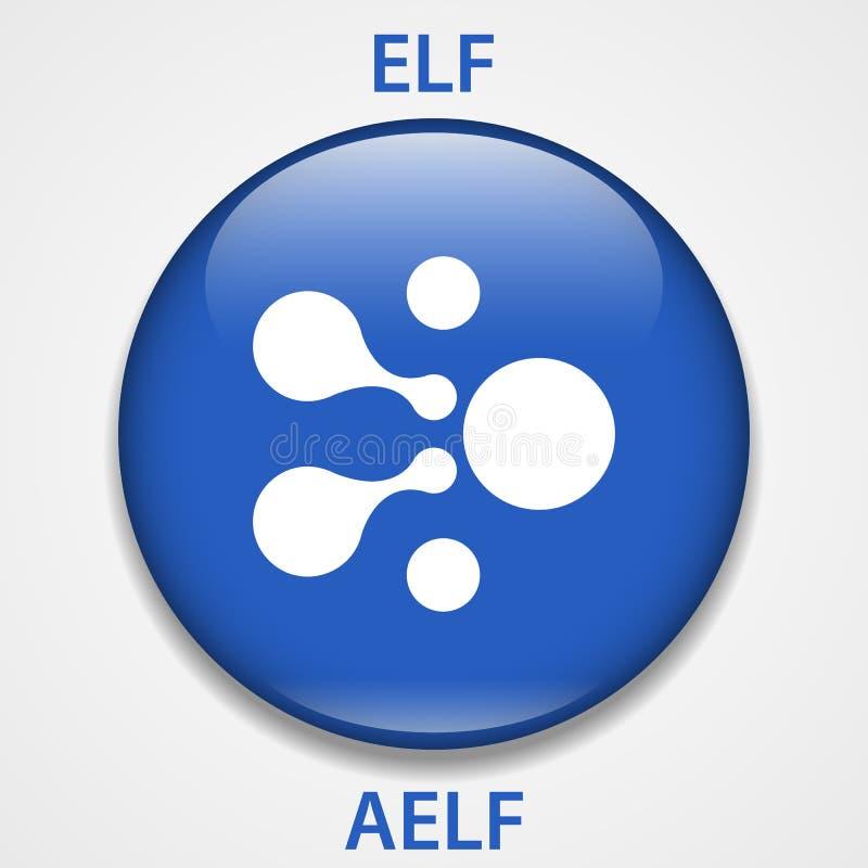 AELF Coin cryptocurrency blockchain icon. Virtual electronic, internet money or cryptocoin symbol, logo.  royalty free illustration