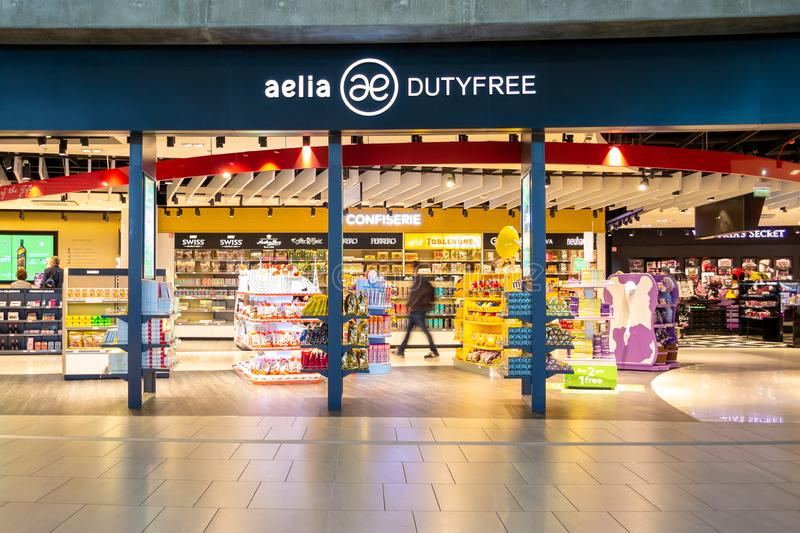 Aelia Duty Free shop inside the Saint Exupery International airport terminal. stock image
