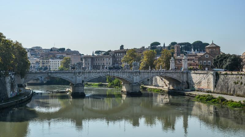 Aelianbrug of Pons Aelius in Rome, Itali? stock afbeelding