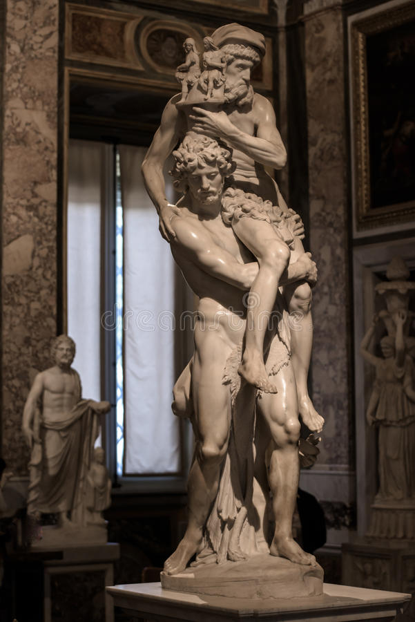 Aeneas,Anchises and Ascanius by Gian Lorenzo Bernini. Aeneas,Anchises and Ascanius is a marble sculpture by the Italian artist Gian Lorenzo Bernini.A visit at royalty free stock photo