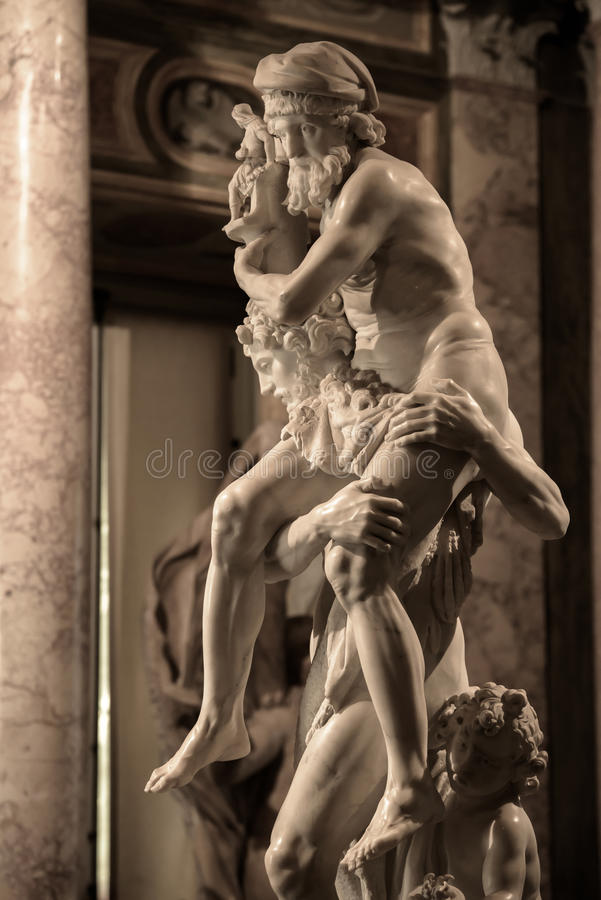 Aeneas,Anchises and Ascanius by Gian Lorenzo Bernini. Aeneas,Anchises and Ascanius is a marble sculpture by the Italian artist Gian Lorenzo Bernini.A visit at royalty free stock photography