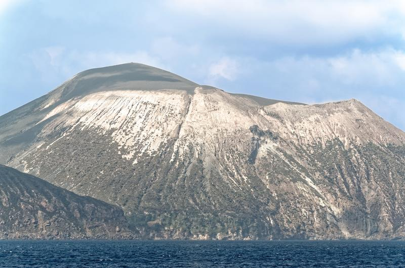Aeolian Islands, Lipari island, Italy. View from sea while a trip by boat royalty free stock photo