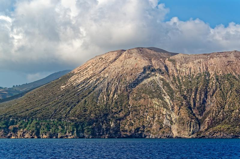 Aeolian Islands, Lipari island, Italy. View from a ship while a sea trip royalty free stock photo