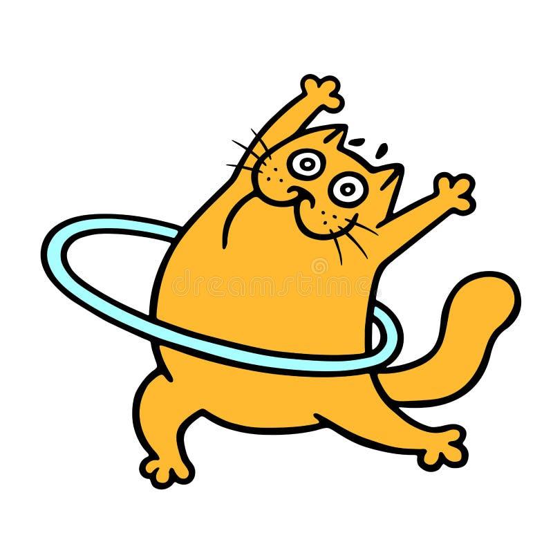 Aeróbicos anaranjados divertidos del gato con un aro Ilustración del vector ilustración del vector