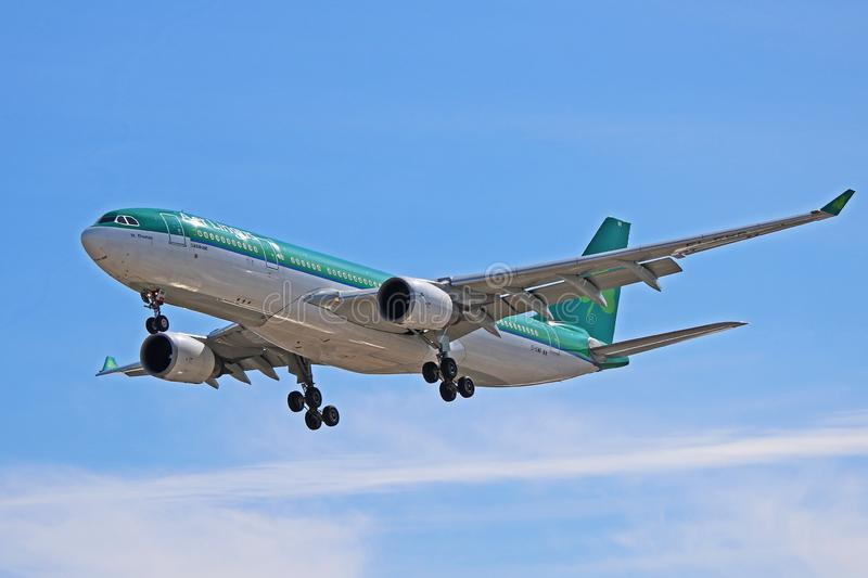 An Aer Lingus Airbus A330-200 On Final Approach stock photo