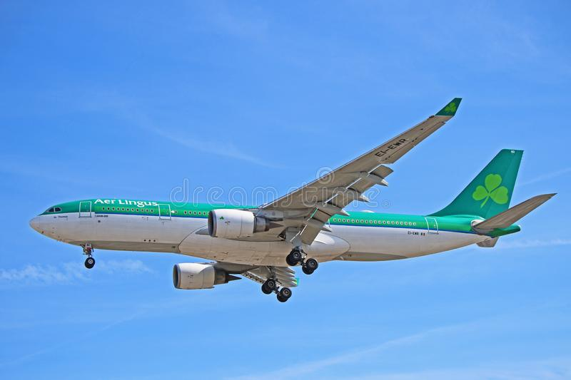 An Aer Lingus Airbus A330-200 About To Land stock photo