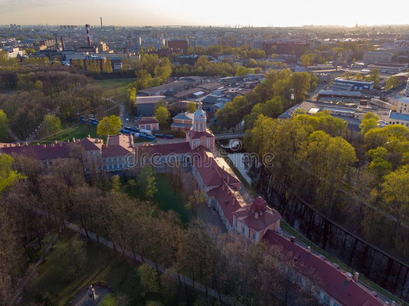 Aeral view to Holy Trinity Alexander Nevsky Lavra. An architectural complex with an Orthodox monastery, a neoclassical cathedral royalty free illustration