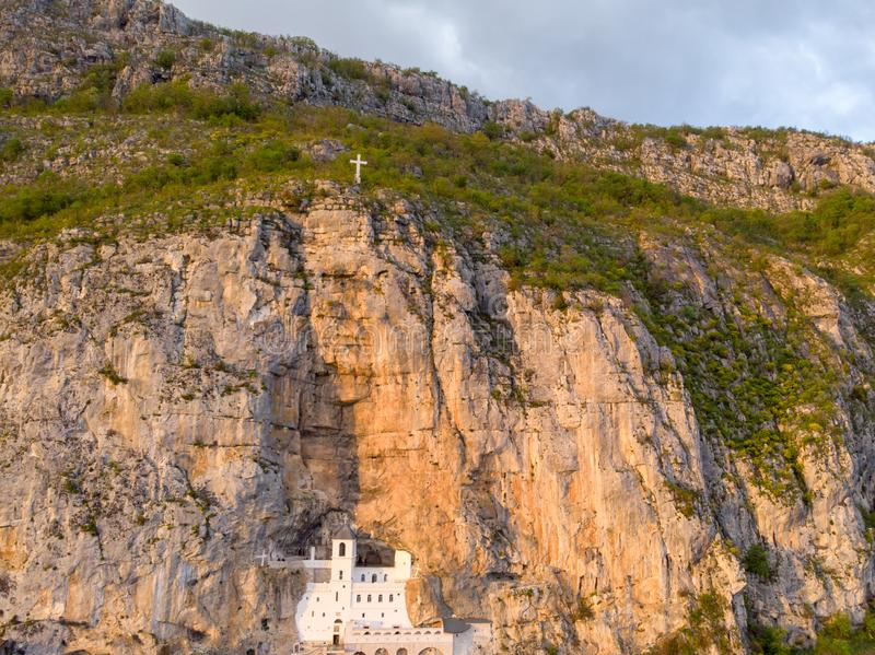 Monastery of Ostrog is a monastery of Serbian Orthodox Church placed against an almost vertical rock of Ostroska Greda, Montenegro royalty free stock photos