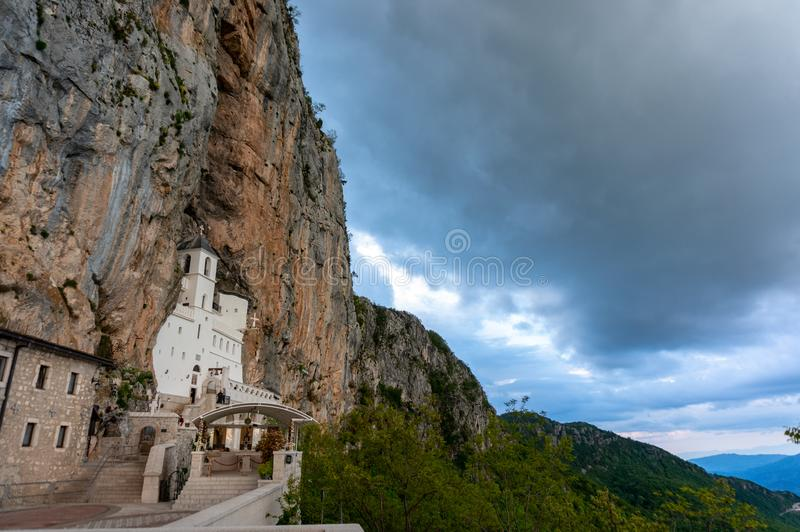 Monastery of Ostrog is a monastery of Serbian Orthodox Church placed against an almost vertical rock of Ostroska Greda royalty free stock photography