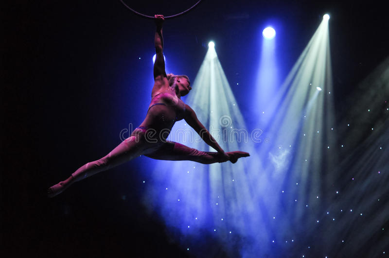 Aeralist in circus. Aerialist performer Fallon Deliseo performing aerial act on board cruise ship Celebrity Reflection stock images