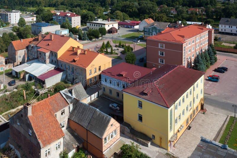 Aeralsikt av mitten av Pravdinsk, Kaliningrad Oblast, Ryssland royaltyfria bilder