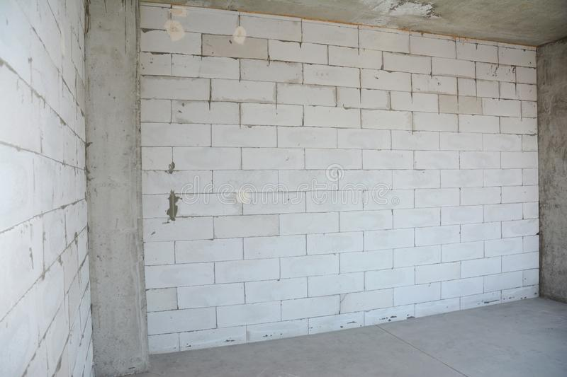 Aerated concrete blocks house wall under construction ready for plastering. Photo royalty free stock photo