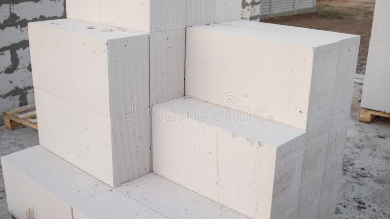 Aerated concrete blocks for the rapid construction. Of houses stock photo