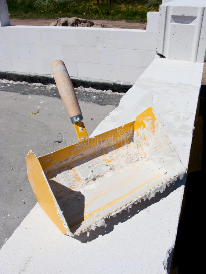 Aerated concrete blocks tool. Special dedicated tool for applying glue in aerated blocks construction royalty free stock photography
