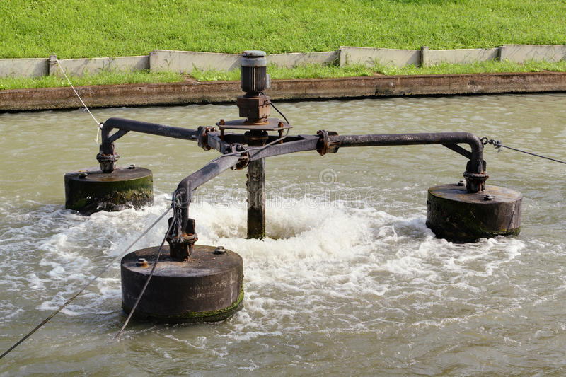 Aerator. Water treatment system by aerator stock photos