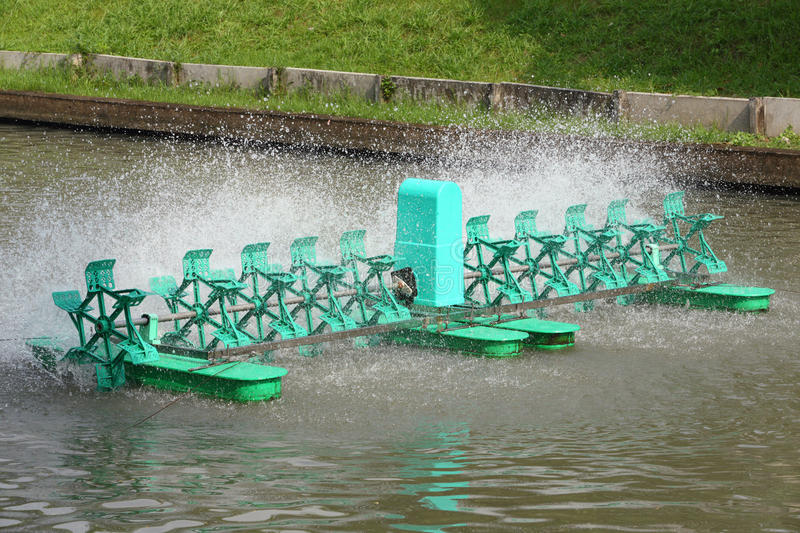 Aerator. Water treatment system by aerator stock image