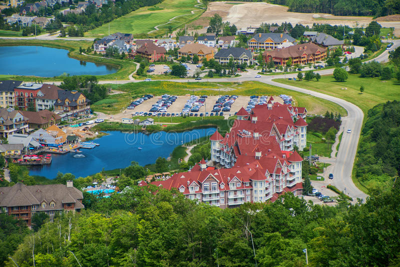 Blue Mountain resort and village during the summer in Collingwood, Ontario. Aereal view of Blue Mountain resort and village during the summer in Collingwood royalty free stock photo