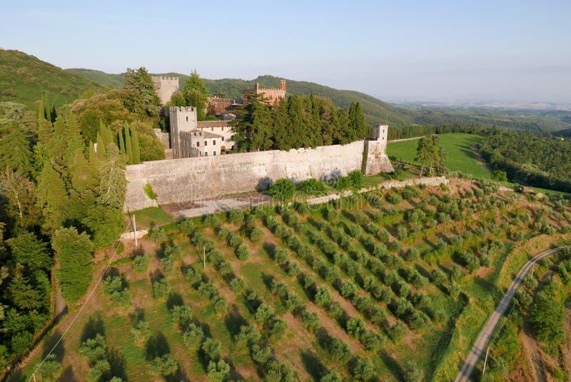 Aereal widoku castello Brolio fotografia royalty free
