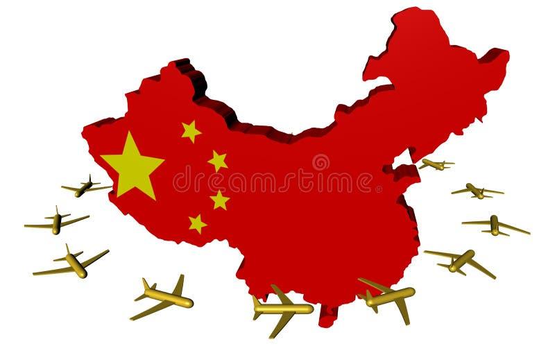 Aerei che volano intorno alla bandierina del programma della Cina illustrazione di stock