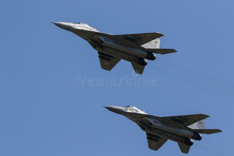 Aerei da caccia del fulcro MiG-29 immagini stock libere da diritti