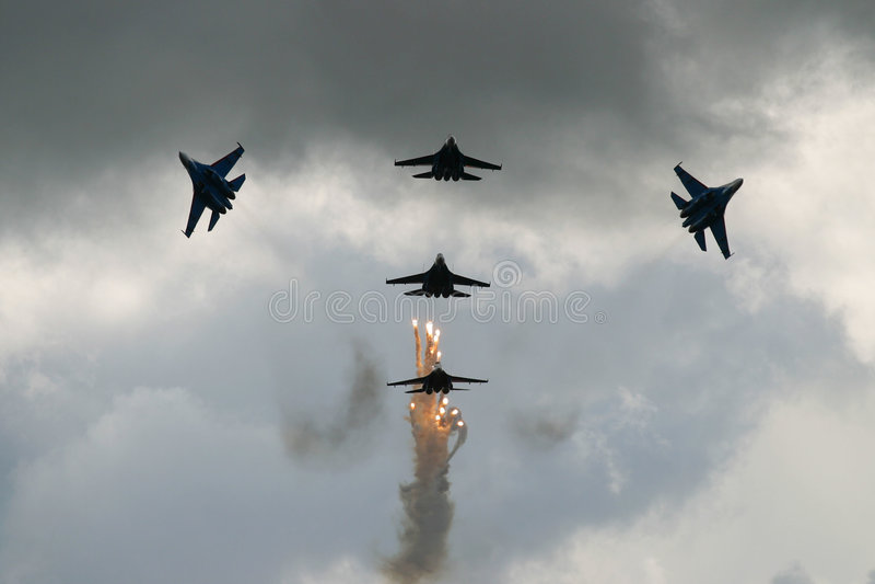 Aerei da caccia russi che mostrano a   immagini stock libere da diritti