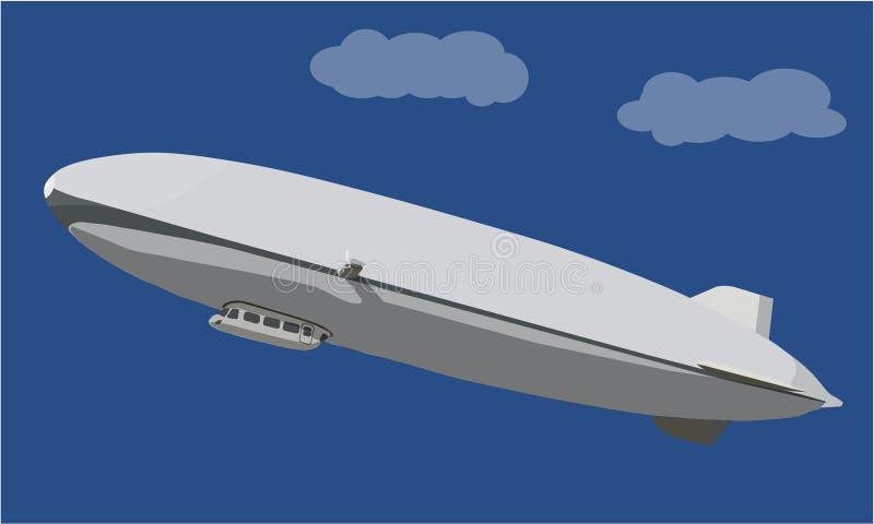 Aerei del piccolo dirigibile dello zeppelin royalty illustrazione gratis