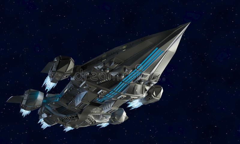 Aerei dell'astronave per la rappresentazione della fantascienza 3d del veicolo spaziale straniero illustrazione di stock