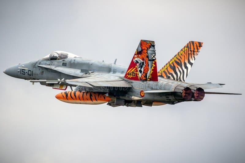 Aerei di aereo da caccia del calabrone F/A-18 immagini stock libere da diritti