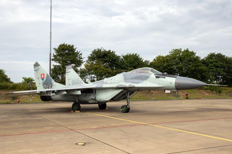 Aerei di aereo da caccia slovacchi del fulcro dell'aeronautica MiG-29 fotografia stock libera da diritti