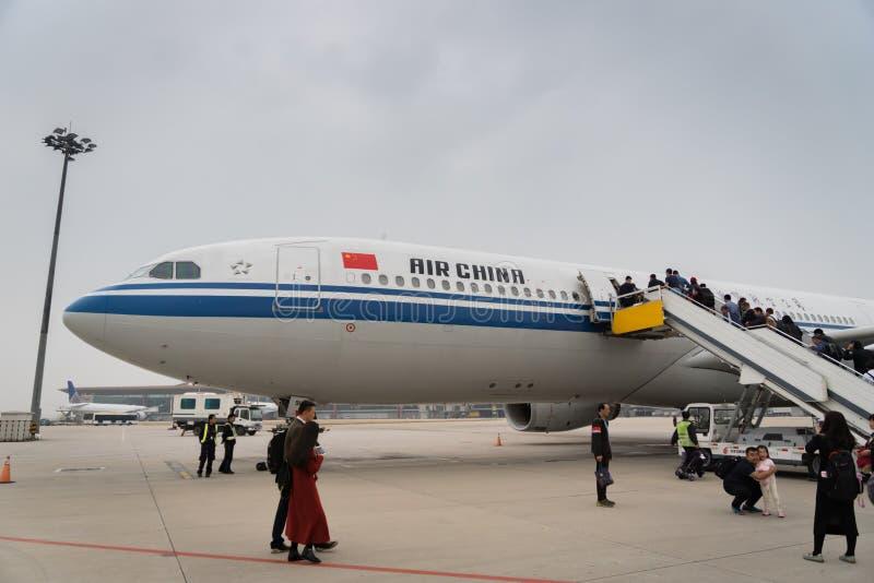 Aerei di Air China Airbus all'aeroporto di Pechino in Cina fotografia stock libera da diritti