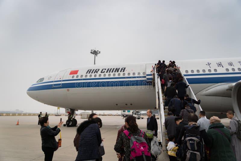 Aerei di Air China Airbus all'aeroporto di Pechino in Cina fotografie stock libere da diritti