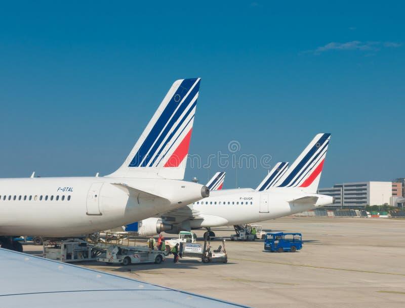 Aerei di Air France a Parigi fotografie stock libere da diritti