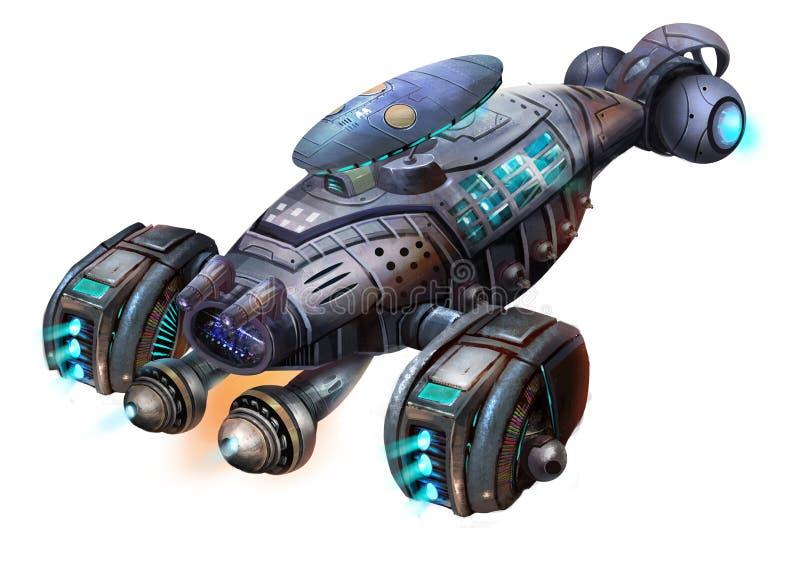 Aerei di fantascienza, l'astronave del gamberetto, veicolo spaziale della fantascienza con stile fantastico, realistico e futuris illustrazione vettoriale