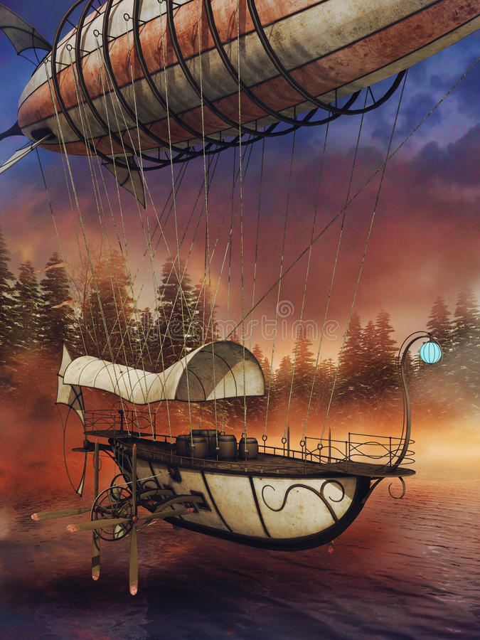 Aerei di fantasia sopra un lago royalty illustrazione gratis
