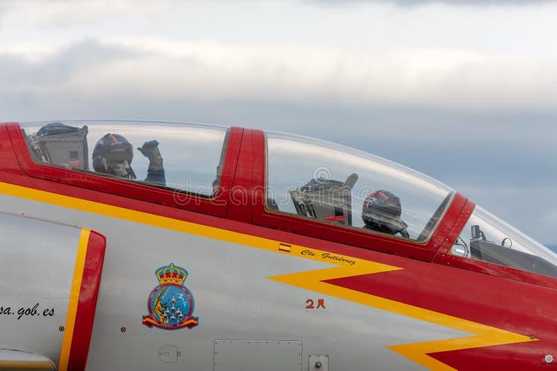 Aerei di istruttore spagnoli del getto della CASA C-101EB Aviojet dell'Aire del di Ejercito dell'aeronautica dell'esposizione acr immagine stock libera da diritti