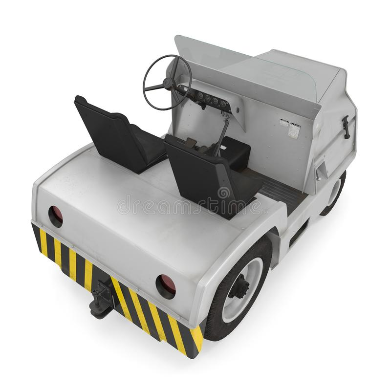 Aerei diesel Tow Tractor su bianco illustrazione 3d isolata su fondo bianco illustrazione vettoriale