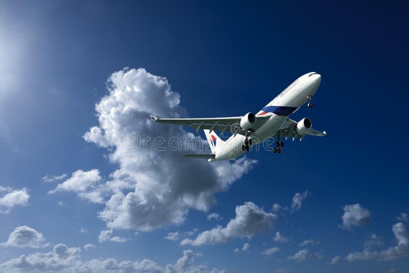 Aerei in volo con il cumulonembo in cielo blu Australi fotografia stock libera da diritti