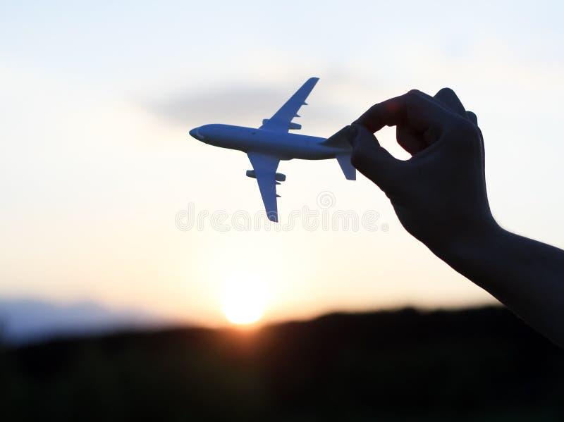 Aereo al tramonto fotografia stock libera da diritti