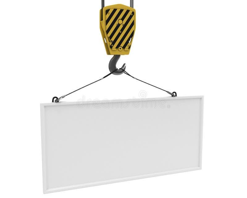 Aereo in bianco bianco di sollevamento dell'amo giallo della gru royalty illustrazione gratis