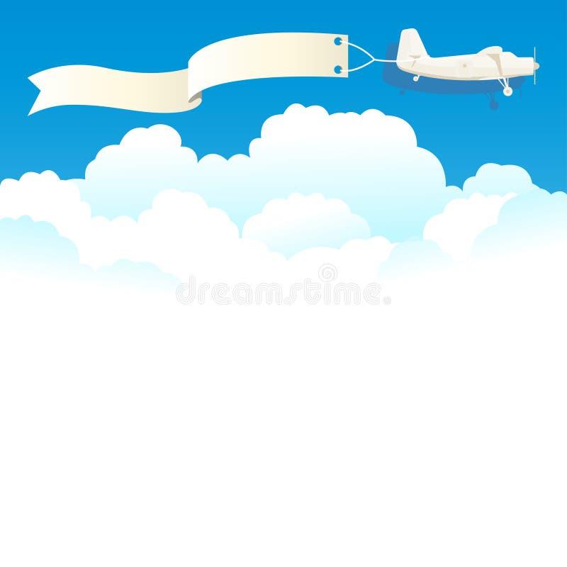 Aereo d'annata di volo con l'insegna e le nuvole bianche Vettore illustrazione di stock