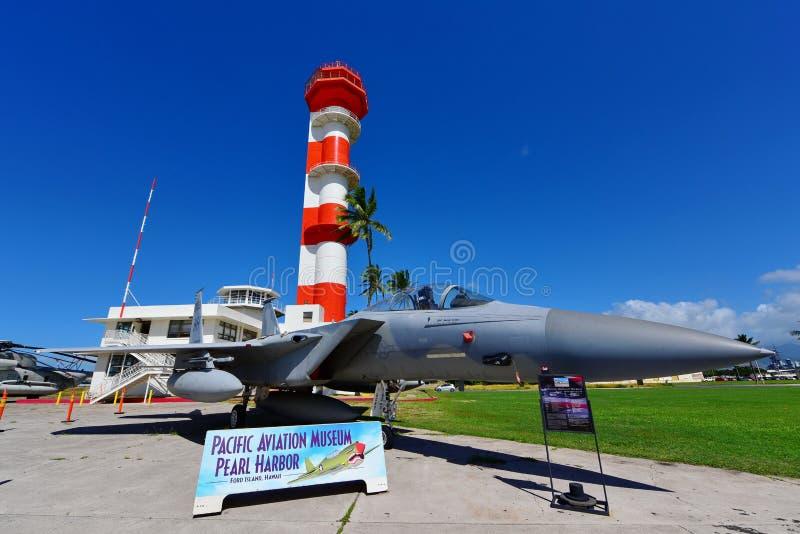 Aereo da caccia del U.S.A.F. F15 su esposizione al museo pacifico di aviazione di Habor della perla fotografia stock libera da diritti