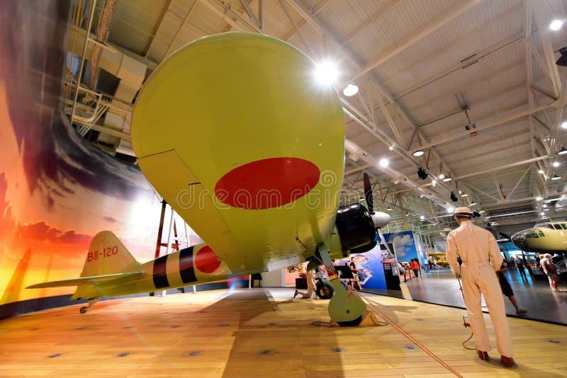 Aereo da caccia di Mitsubishi Z6M Zero del giapponese su esposizione al museo pacifico di aviazione di Habor della perla fotografie stock libere da diritti