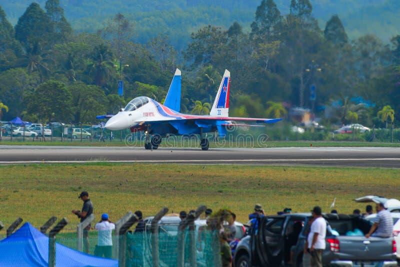 Aereo da caccia di Su-30SM dei cavalieri russi immagine stock