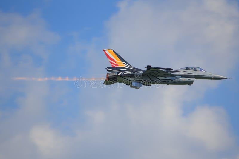 Aereo da caccia F16 dell'aeronautica belga immagine stock libera da diritti