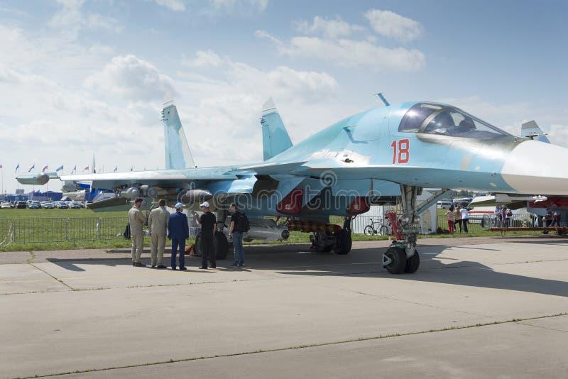 Aereo da caccia militare russo alla mostra internazionale fotografie stock libere da diritti