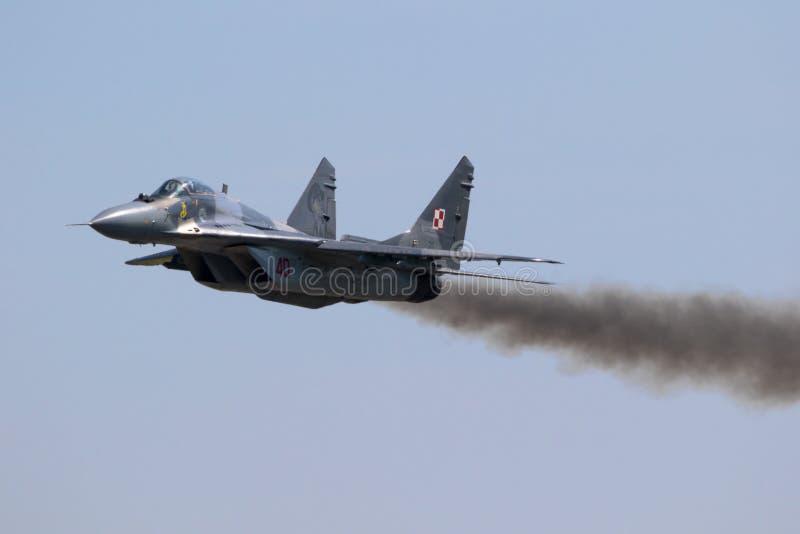 Aereo da caccia polacco del fulcro dell'aeronautica MIG 29 immagini stock